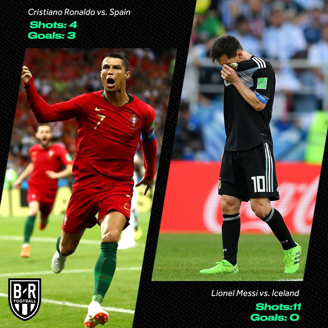 عکس + مقایسه آمار مسی و رونالدو در نخستین بازی جام جهانی