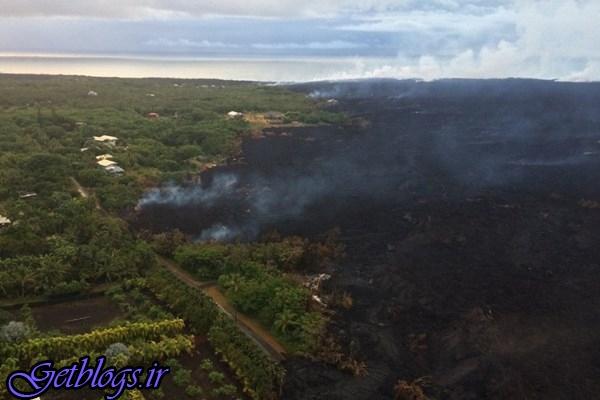 تصاویری قشنگ از جاری شدن گدازه های آتشفشانی در هاوایی