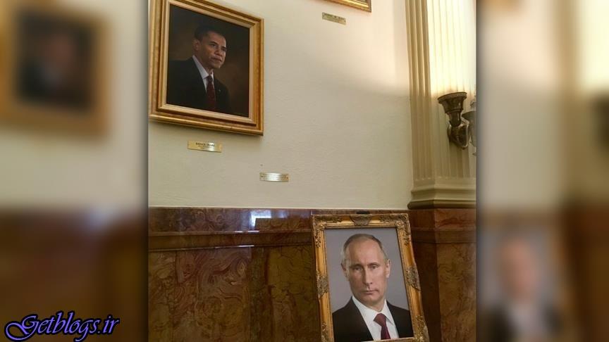 عکس ، تصویر پوتین به جای تصویر ترامپ در ساختمان دولتی آمریکا