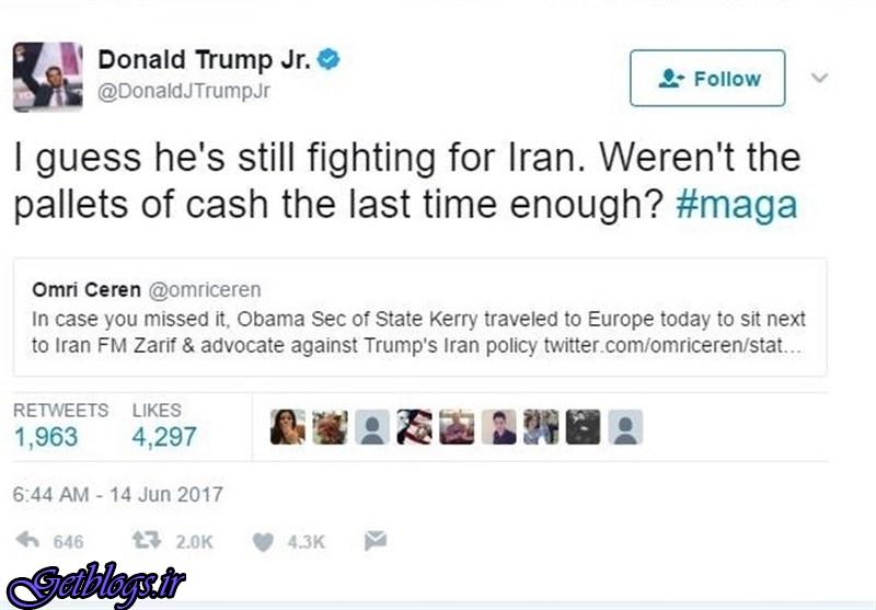 عکس) + توئیت تند پسر ترامپ علیه جان کری (