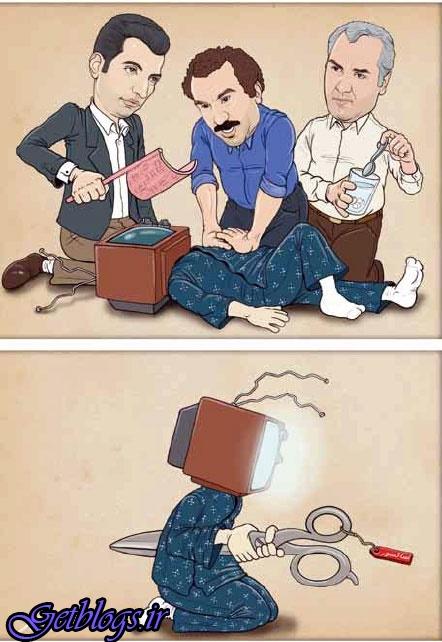 کاریکاتور ، نقی معمولی و مهران مدیری بر بالین تلویزیون!